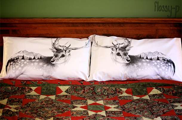 Reindeer Pillowcase Pair, by flossy-p