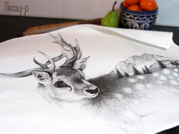 Reindeer Tea towel by flossy-p