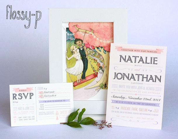 Nat & Jon wedding invitations, by flossy-p